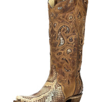 Women's Python Inlay Snip Toe Boot - Brown