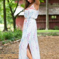 Tie Dye Me A River Maxi Dress, Aqua