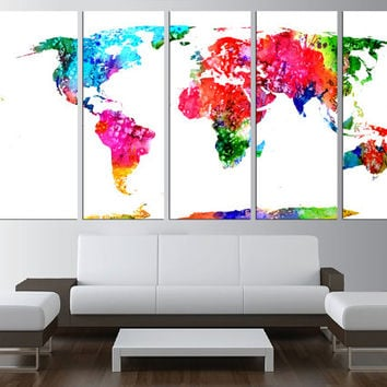 large World Map Canvas wall art, Large wall Art, watercolor wall art, World Map canvas print, watercolor world map, extra large art 521