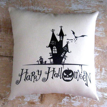 Halloween Pillow, Haunted House, Bats, Pumpkin, Halloween Silhouette, Home Decor, Housewares, Decorative Pillow