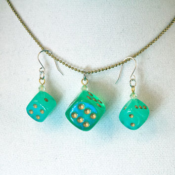 Teal and Gold Dice Jewelry Set - Pearlescent Bunco Necklace and Earrings