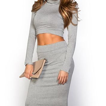 Tanaya Gray Casual Long Sleeve Turtleneck Crop Top 2 Piece Dress