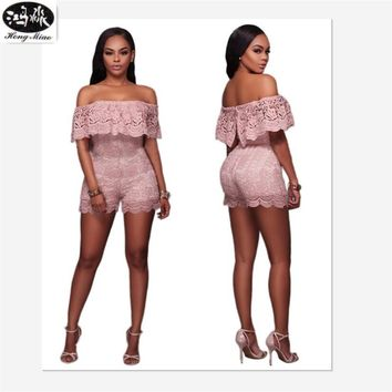 2017 Summer New Fashion Women Nightclub Style Sexy Jumpsuits Loose Lace Bodysuit Slash Collar Lotus Leaf Sexy Lace Jumpsuits