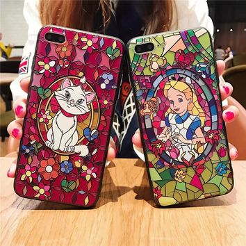 Cartoon Relief Phone case for iphone 7 7Plus Alice princess Mary cat silicon+ PC Case For iphone X 6 6s 6plus 8 8plus