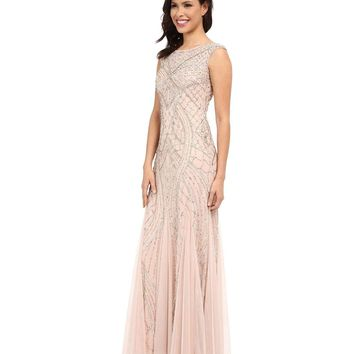Adrianna Papell 61910460 Sequin Embellished Sleeveless Godet Gown