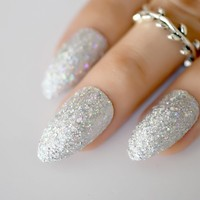 Pack 24 Unicorn Mix Glitter Press On Nails Rainbow Chrome Silver Dust UV Fake Nails Shimmer Pointed Manicure Tips