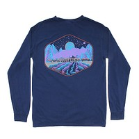 Limited Edition Night Train Long Sleeve Tee in Navy by Waters Bluff - FINAL SALE