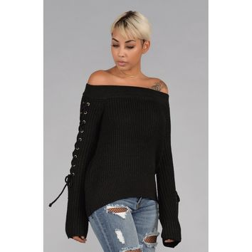 Off the Shoulder Knit Sweater with Lace Up Sleeves in Black