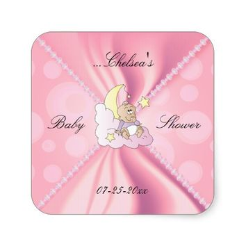 Pink Satin Design for a Baby Shower Square Sticker