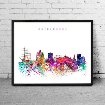 Gothenburg Watercolor Print, sweden watercolor Art, Wall art,Gothenburg  Skyline, Cities Art, Wall Art, typography art, Decor-x09