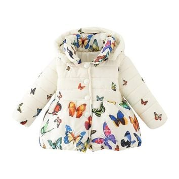 2018 Baby Girls Coat Winter Jacket Coat Children Autumn Outerwear Baby Girl Cotton Butterfly Print Jacket Children Clothes