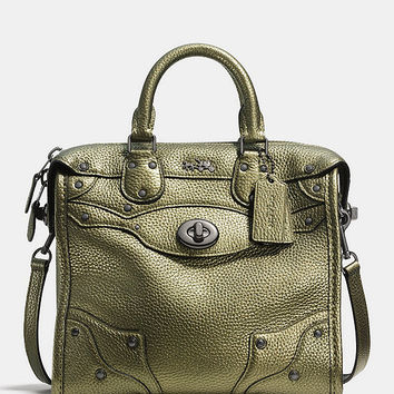 COACH MINI RHYDER 33 SATCHEL IN METALLIC PEBBLE LEATHER | Dillards