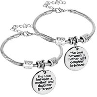 Nzztont 2PCs The Love Between Mother and Daughter and Son Is Forever Bracelet For Mom Motherrsquos Day Gift