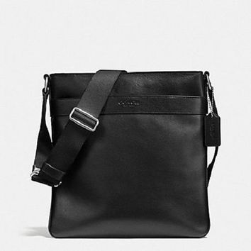 New Authentic Men's COACH F54780 Charles Crossbody Bag Shoulder Bag in Calf Leather Bl