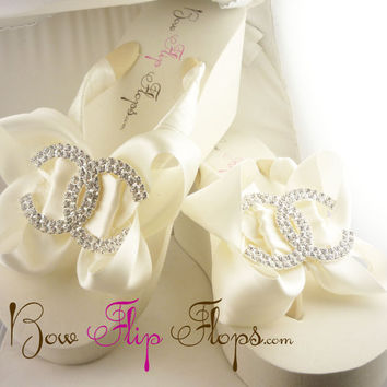 Ivory Wedge Designer Bling Bridal Flip Flops Rhinestone Satinrhinestone Bow Wedding Bride Platform Heel Ribbon