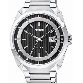 Citizen AW1011-54E Men's Eco-Drive Stainless Steel Black Dial Watch