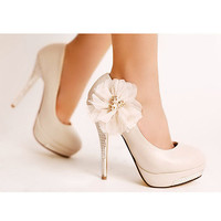 Wedding Stiletto Heel Women's Pumps With Rhinestone and Flow [22]