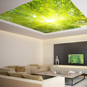 Ceiling STICKER MURAL leaves trees spring forest airly air decole poster