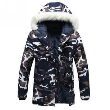 New 2017 Camouflage Down Parkas Jackets Men's Parka Hooded Coat Male Fur Collar Parkas Winter Jacket Men Military Down Overcoat