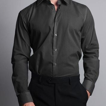 Men's Slim Fit Solid Color Dress Shirt (Charcoal)