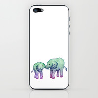 Baby Elephant Love - ombre mint & purple iPhone & iPod Skin by Perrin Le Feuvre