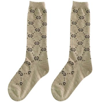 GUCCI autumn and winter in the tube school wind wild double knit pile piles socks Coffee