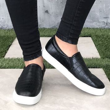 Black Faux Crocodile Flat Platform Sneakers
