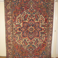 Antique Persian Rug, Fine Handmade Bakhtiari Rug, library decor