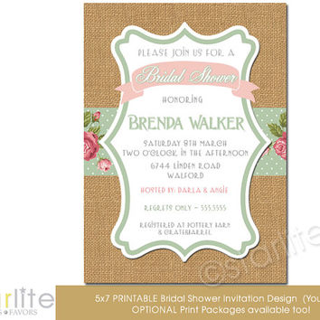Bridal Shower Invitation burlap, pink, sage, floral vintage style - Vintage Chic - unique invitation - You Print