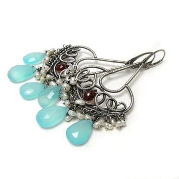 Statement long wire wrapped earrings with aqua blue chalcedony , pearls and garnet