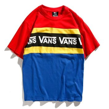 Vans Classic Popular Women Men Casual Color Matching Letter Print Skateboard Short Sleeve Lovers T-Shirt Top I12728-1