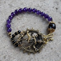 Energy, Dancing Natraj, and Genuine Amethyst Gemstone Bracelet