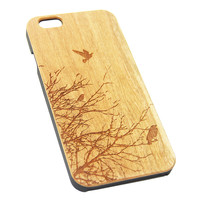 Flying Birds Tree Wood Engraved iPhone 6s Case iPhone 6 Case iPhone 6s 6 Plus Cover Natural Wooden iPhone 5s 5 Case Samsung Galaxy s7 Edge S6 S5 Case D101
