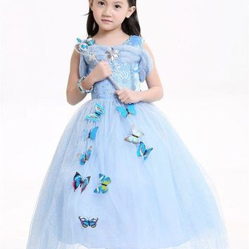 LMFON Kids Cinderella Dresses Girls Children Cloth Princess party Dresses only Cosplay child Costume Halloween Carnival Christmas