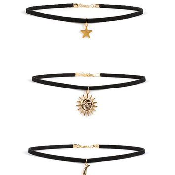 Streetstyle  Casual Star Moon Sun Choker Necklace