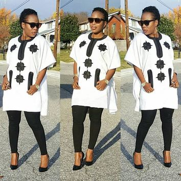 2018 African women clothing Africa clothes riche bazin embroidery suits dahsiki fabric blue black lady top with pants africano-Multiple Colors