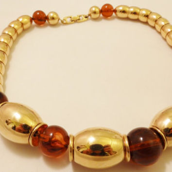 Vintage Napier Gold Tone and Amber Bead Necklace