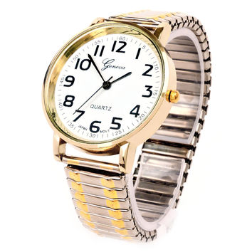 2Tone Large Face Geneva Fancy Stretch Band Women's Watch