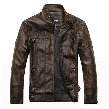 Motorcycle Jacket Men Leather Stand Collar Stylish Leather Jackets For Men