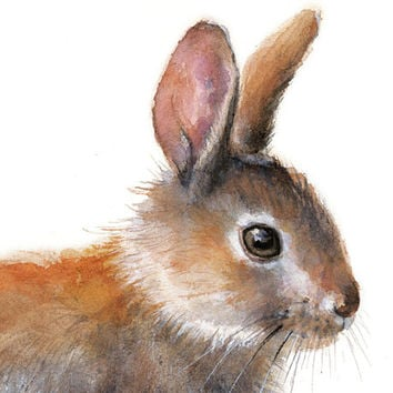 Bunny Rabbit Watercolor Painting. Art Print. Nature Animal Illustration. Easter Rabbit Spring Rabbit