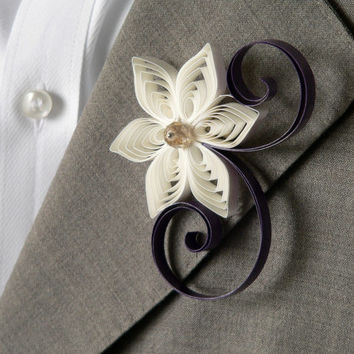 Ivory and Plum Boutonniere, Plum and Ivory Buttonhole for a Purple Wedding, Ivory Wedding, Plum Wedding