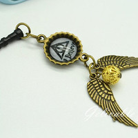 Harry Potter iPhone 5 4S 4 charm,3.5mm dust proof plug with golden snitch and Deathly Hallows charms,fit for samsung Blackberry HTC