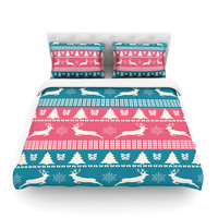 """Famenxt """"Christmas Blue Red"""" Blue Red Illustration Featherweight Duvet Cover"""