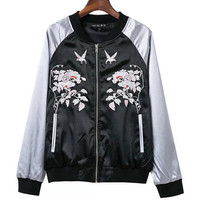 Bomber Jacket with Floral Embroidery in Black