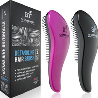 Art Naturals Detangling Hair Brush Set (Pink & Black) - glide the Detangler through Tangled hair Best Brush Comb for Women