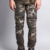 Zipper Cut Biker Camo Jeans DL1059 - II8C