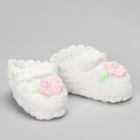 White & Pink Flower Crochet Booties