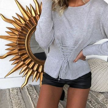 ONETOW Sexy Waist Body Shaper Round-neck Pullover Sweater Winter Knit Tops Corset [22426353690]