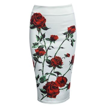 Vintage High Waist Floral Zippered Bodycon Midi Skirt for Women