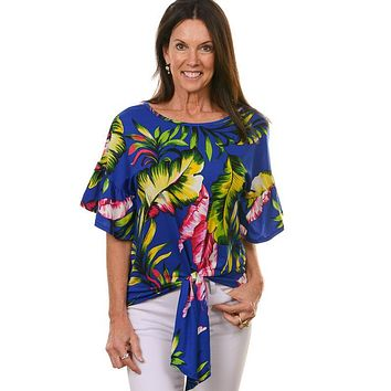 Blue Hawaiian Tie Top